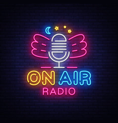 on air radio neon logo radio neon sign vector image
