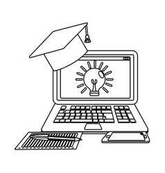 online education laptop cartoon vector image