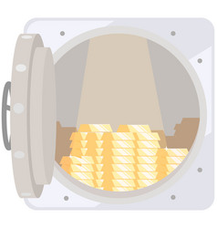 opened silver metallic bank vault with gold bars vector image
