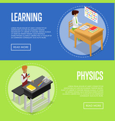 physics and language studying at school vector image