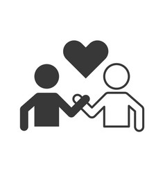 Pictogram of people holding hand and heart vector