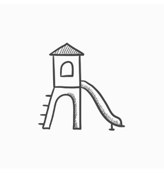 Playground with slide sketch icon vector image