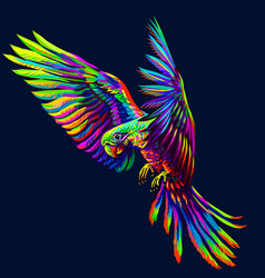 portrait a parrot in flight abstract vector image