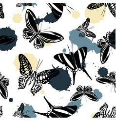 pretty seamless butterfly kite background vector image