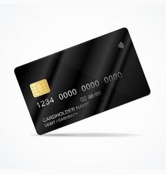 Realistic detailed 3d black plastic credit card vector