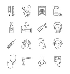 respiratory infection signs black thin line icon vector image