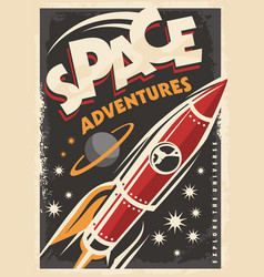 Retro poster with space ship rocket vector