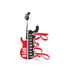 Rock legendary open logo black and red emblem for vector