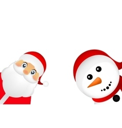 Santa Claus and Christmas snowman on a white vector image