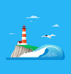 Seascape with lighthouse in vector