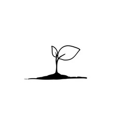 Seedling with handdrawn doodle cartoon style vector