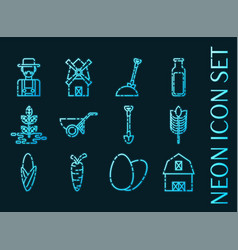 set farm blue glowing neon icons vector image