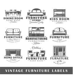 set of vintage furniture labels vector image