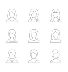 set outline icons women vector image