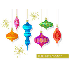 set vintage retro christmas ornaments vector image