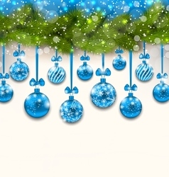 Shimmering Light Wallpaper with Fir Branches vector
