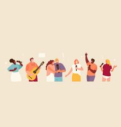 Singing people group set vector