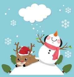snowman and deer vector image