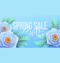 spring sale banner with paper flowers and vector image