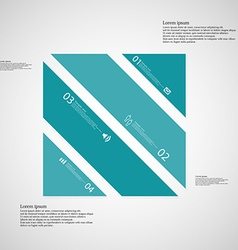 Square template consists of four blue parts on vector