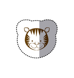 sticker with brown line contour of face of tiger vector image