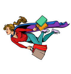 superhero woman flying with shopping sales and vector image