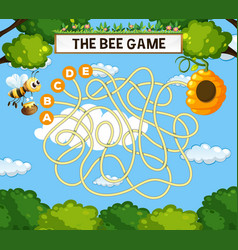The bee maze game template vector