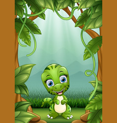 the little dinosaurs smile living in the jungle vector image
