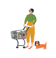 trendy woman and dog with shopping trolley full of vector image