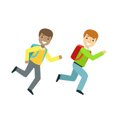 Two boys running to the classroom part of school vector