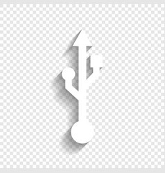 Usb sign white icon with vector