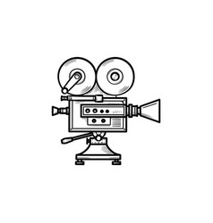 video camera hand drawn outline doodle icon vector image