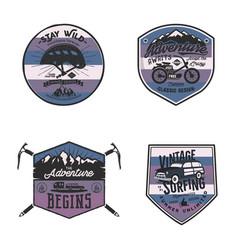 Vintage camp logos mountain badges set unusual vector