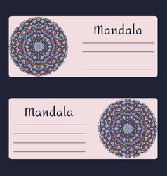 Vintage cards with floral mandala pattern and vector