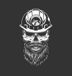 Vintage monochrome skull in miner helmet vector