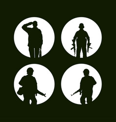 war icons white army soldiers set of 4 army vector image