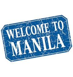 Welcome to Manila blue square grunge stamp vector