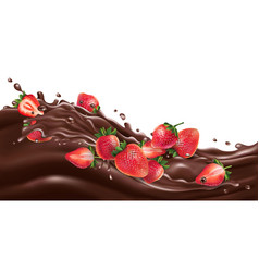 whole and sliced strawberries on a chocolate wave vector image