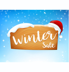 winter sale on wooden sign and snow fall 001 vector image