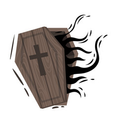 Wooden ajar coffin on a white vector