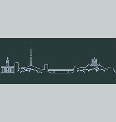 Wuhan single line skyline vector