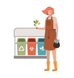Young gardener with recycling baskets avatar vector