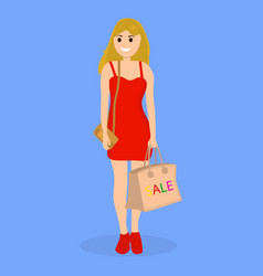 young woman on a shopping sale with a bag vector image
