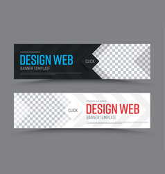 black and white horizontal web banner template vector image vector image