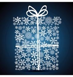 Christmas gift box snowflake design background vector image