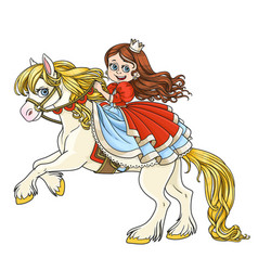 Cute princess riding on horse that bucks front vector