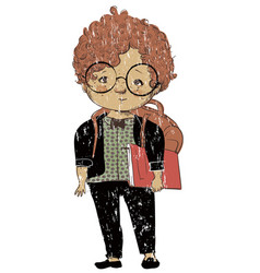 cute school little boy vector image