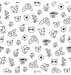 doodle bear cat and a bird outline pattern vector image vector image