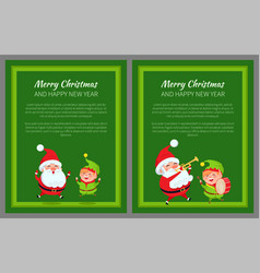 merry christmas new year poster santa and elf vector image vector image