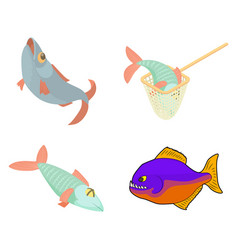 river fish icon set cartoon style vector image